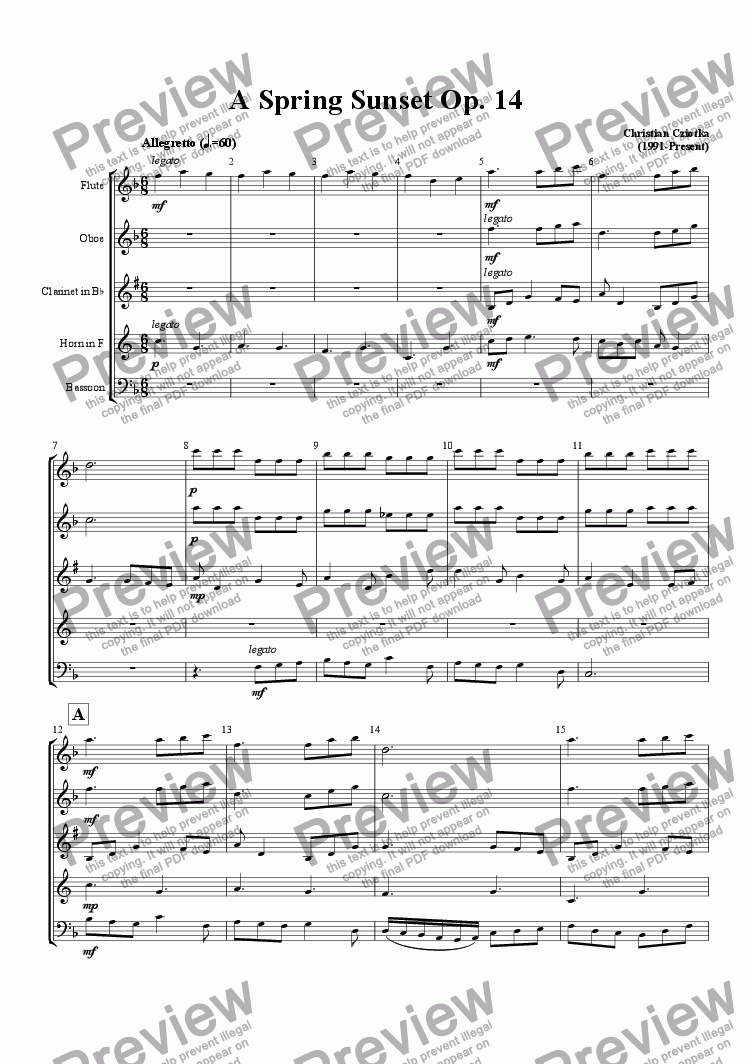page one of A Spring Sunset Op. 14