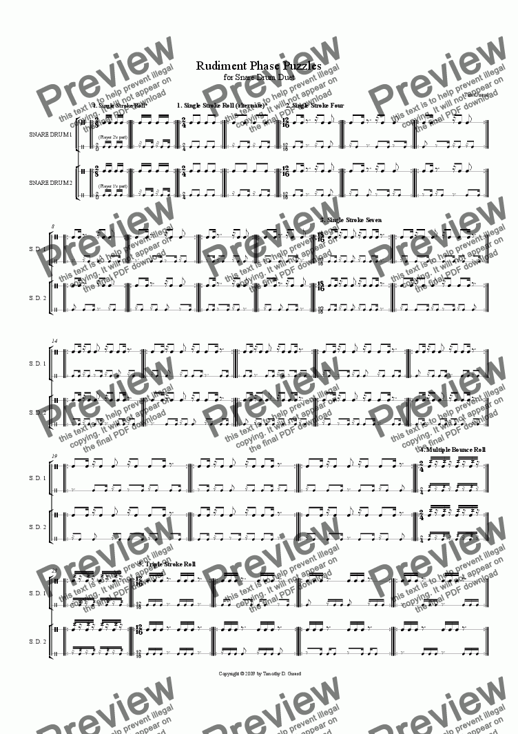 page one of Rudiment Phase Puzzles