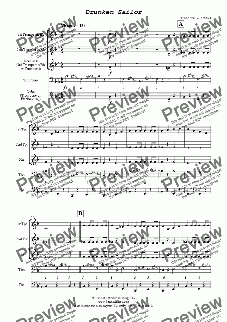 page one of Drunken Sailor (Brass Quintet Version)