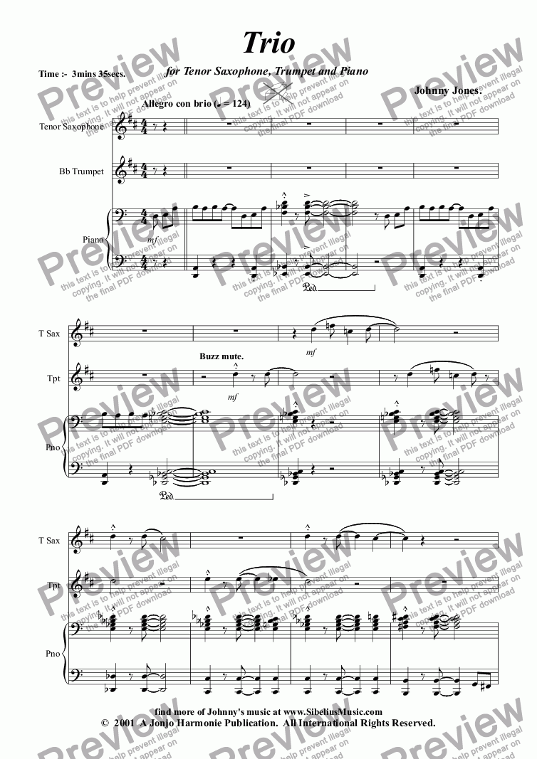 Trio For Tenor Saxophone, Trumpet and Piano for Orff ensemble by Johnny  Jones - Sheet Music PDF file to download
