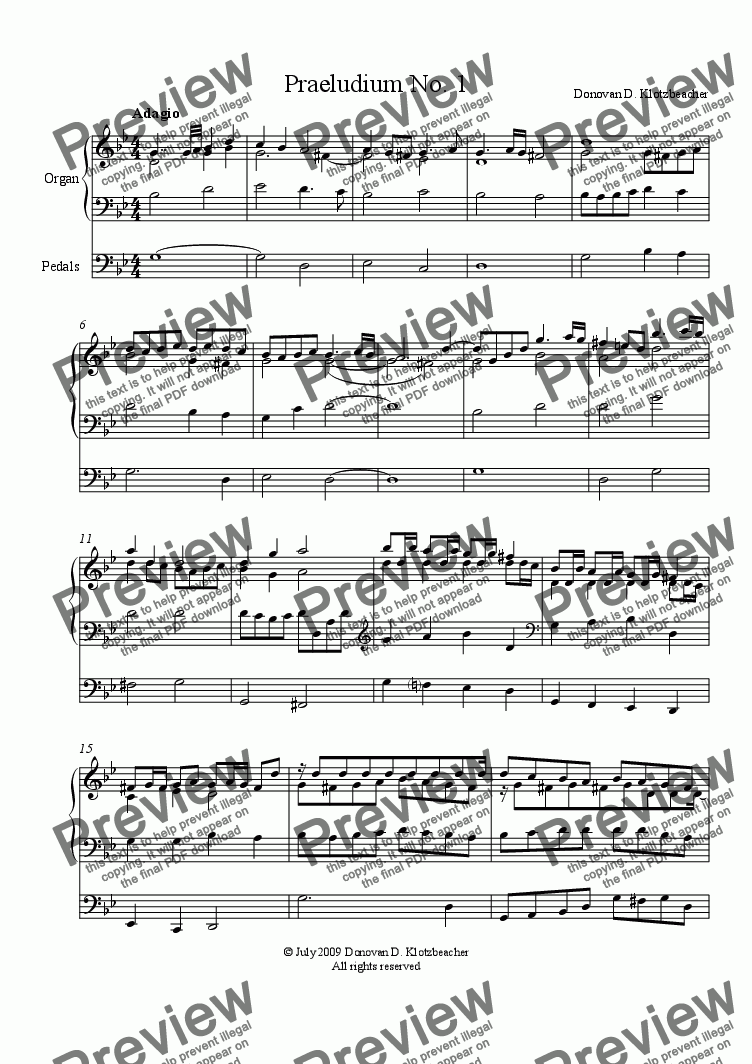 page one of Praeludium No. 1 in G Minor