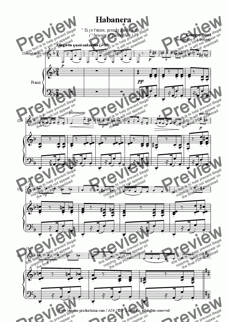 page one of Bizet: Habenara from Carmen, for clarinet and piano