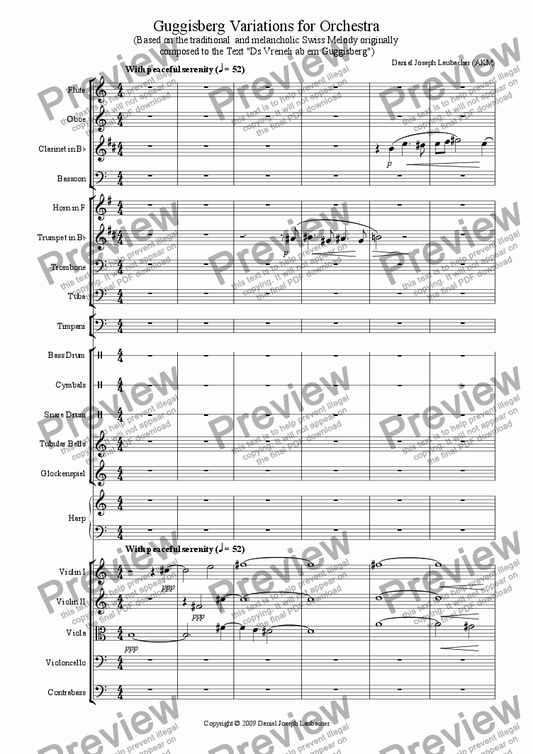 page one of Guggisberg Variations for Orchestra