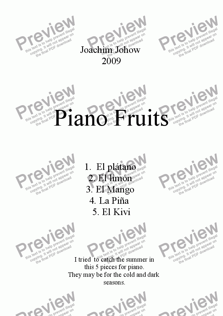page one of Piano Fruits (5 dances for Piano)