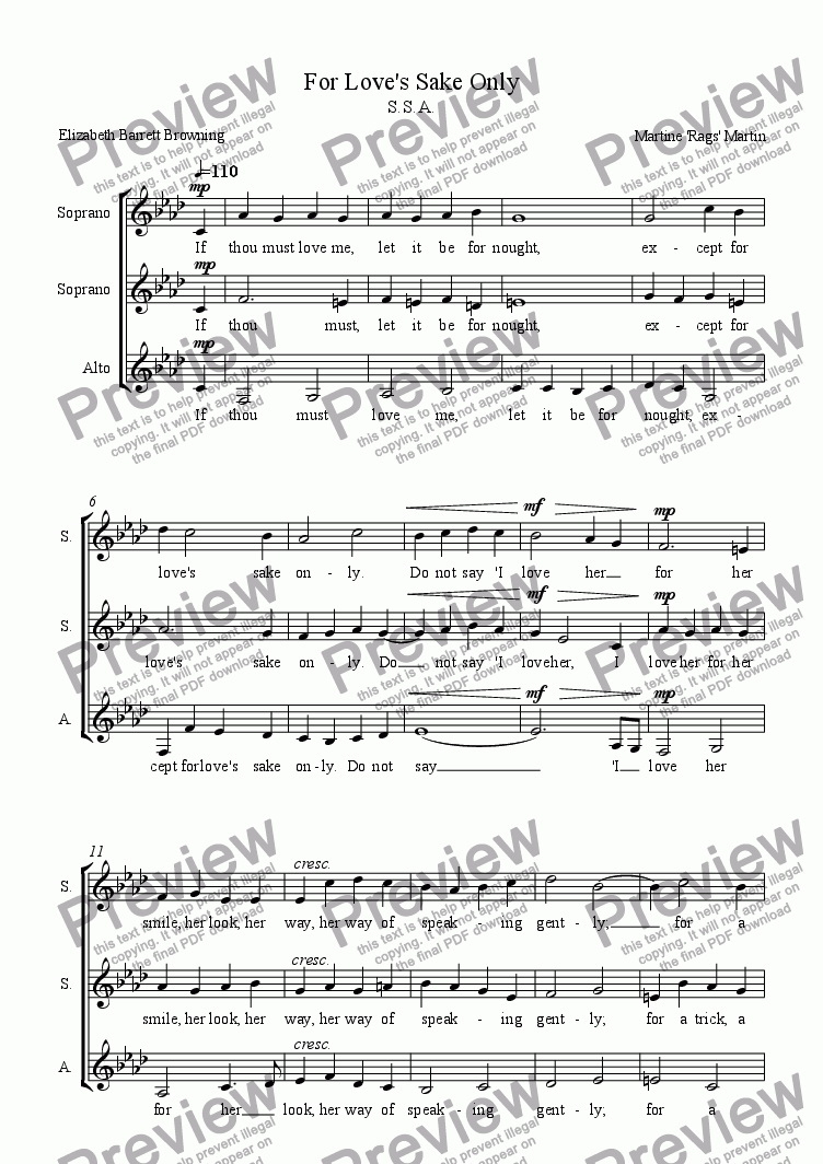 page one of For Love's Sake Only - SSA Vocal Trio