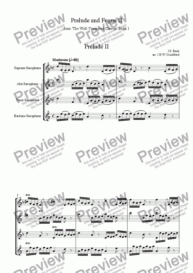 page one of Prelude and Fugue no.2 from 'Well Tempered Clavier' for Saxophone Quartet
