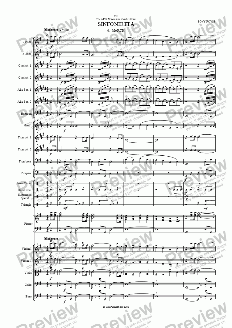 page one of Sinfonietta 'March' (4th Mov.) for School Orchestra