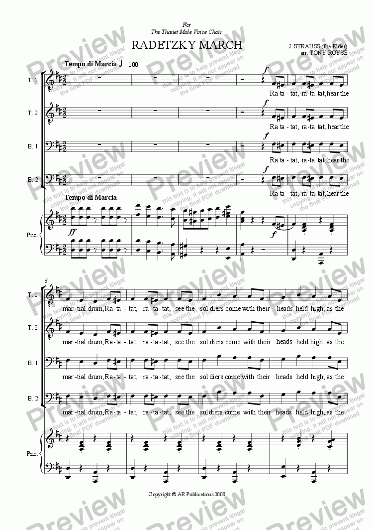 Radetzky March (Male Voice Choir) for Voice + keyboard by J  Strauss  (Elder) - Sheet Music PDF file to download