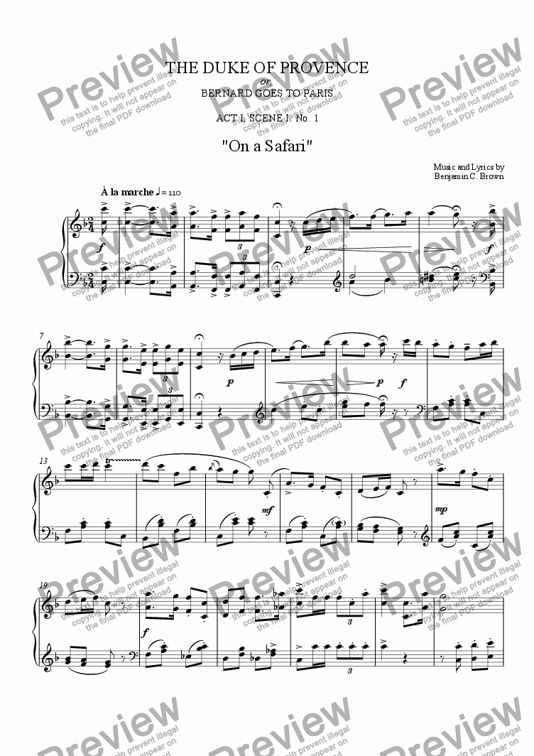 "page one of Act I, Scene I: No. 1 ""On a Safari"""
