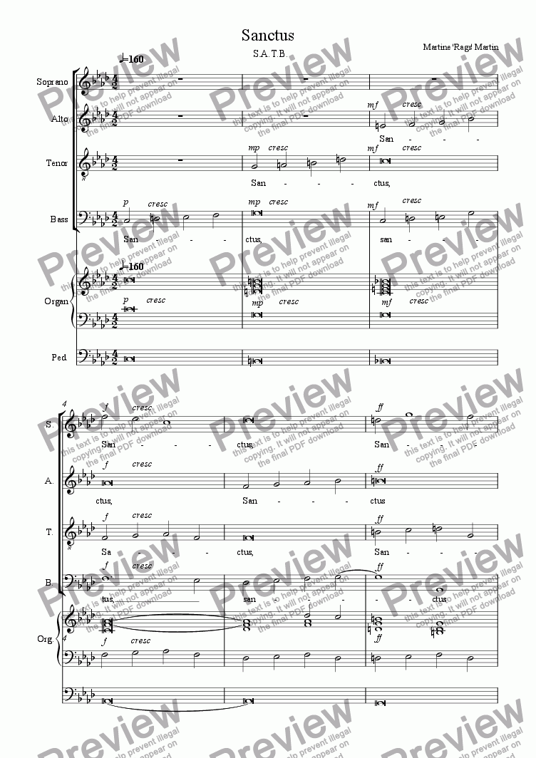 page one of Sanctus - SATB and Organ