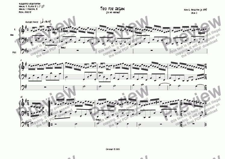 page one of Trio for Organ, op. 2