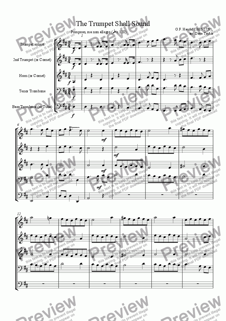 page one of The Trumpet Shall Sound (brass quintet)