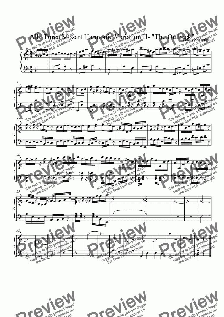 Alla Turca Mozart alla turca mozart harmonic version ii for solo instrument (piano)w. a.  mozart - sheet music pdf file to download