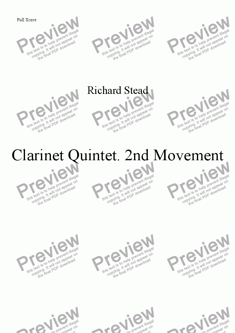 page one of 2nd Movement. Clarinet quintet no.1