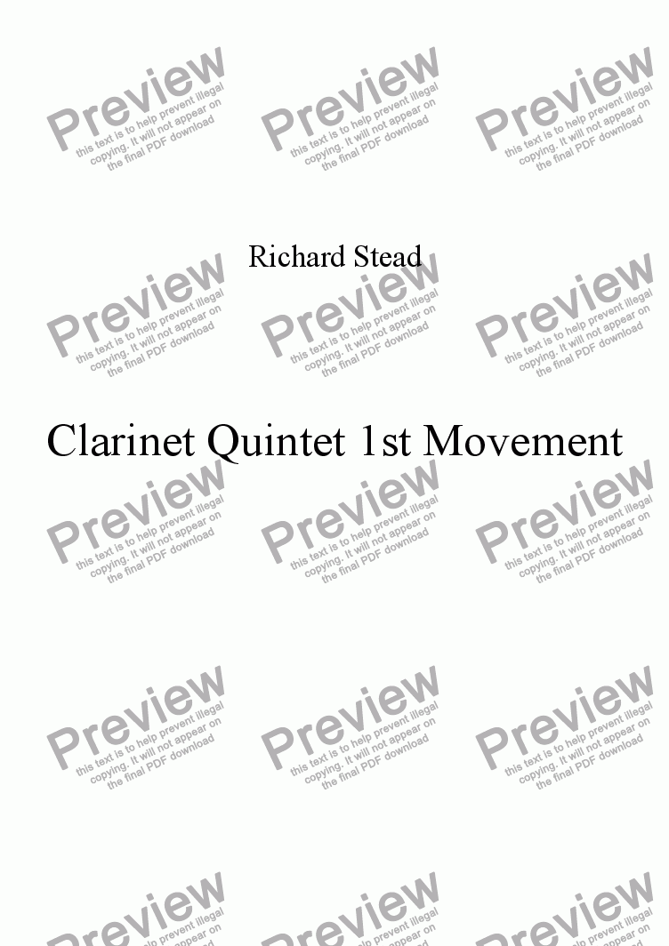 page one of Ist Movement Clarinet Quintet no 1