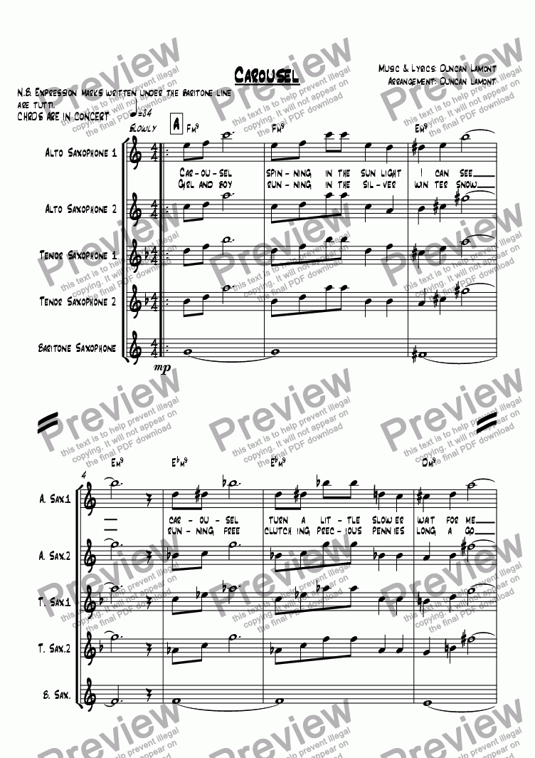 page one of Carousel (quintet)