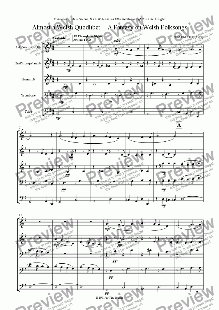 page one of Almost a Welsh Quodlibet - A Fantasy on Welsh Folksongs - for brass quintet