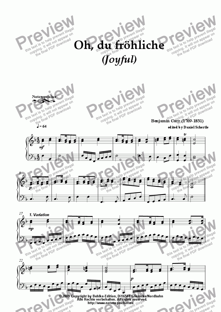 page one of Variations about >Oh, du froehliche - Joyful< (for piano by B. Carr)