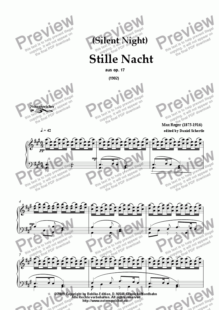 page one of Stille Nacht, Heilige Nacht ( Silent Night) (for piano by M. Reger)