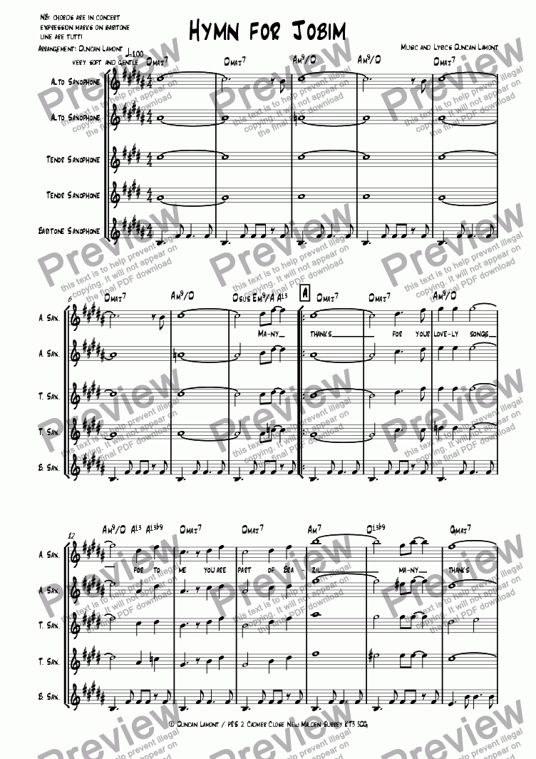 page one of Hymn For Jobim (Quintet)