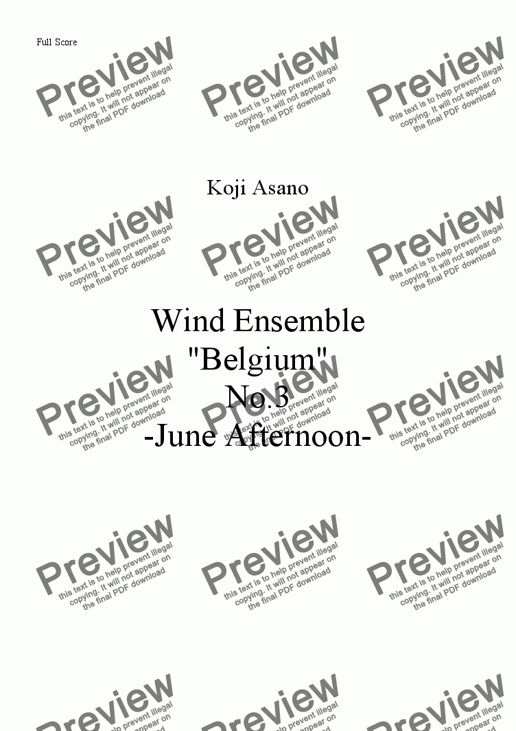 page one of Wind Ensemble -Belgium- No.3 June Afternoon