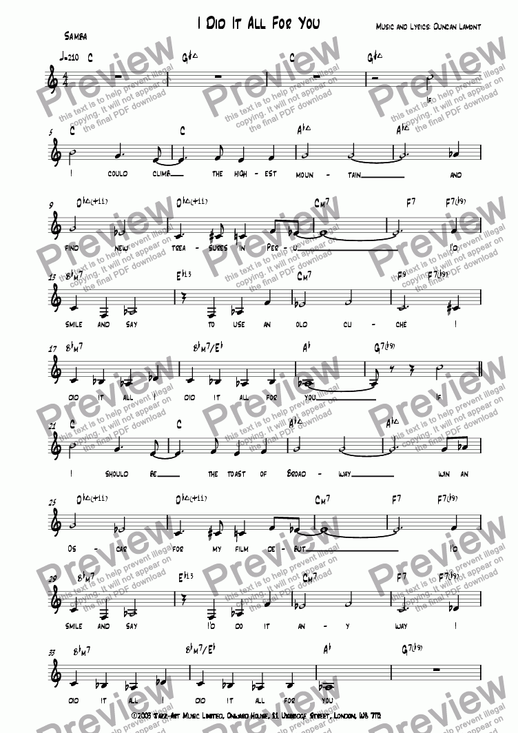 page one of I Did It All For You (Vocal)ASALTTEXT