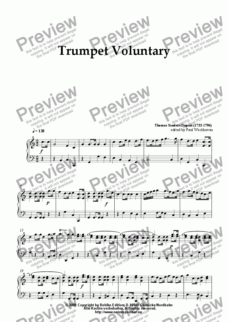 page one of Trumpet Voluntary (for small organ by Th. S. Dupuis)