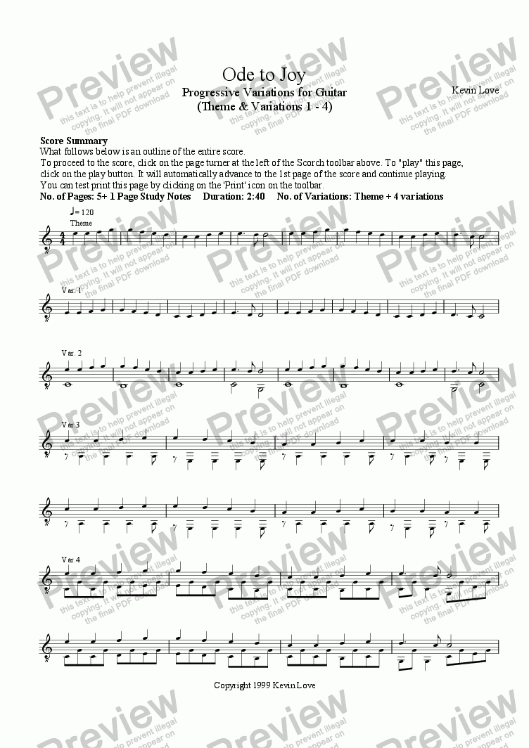 page one of Ode to Joy - Progressive Variations for Guitar (Theme and Variations 1 - 4) - with Tab