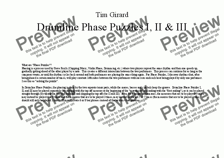 page one of Drumline Phase Puzzles