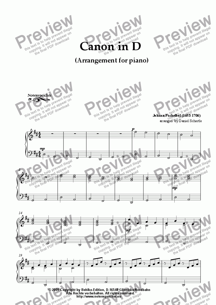 page one of Canon in D by J. Pachelbel (Arrangement for piano)