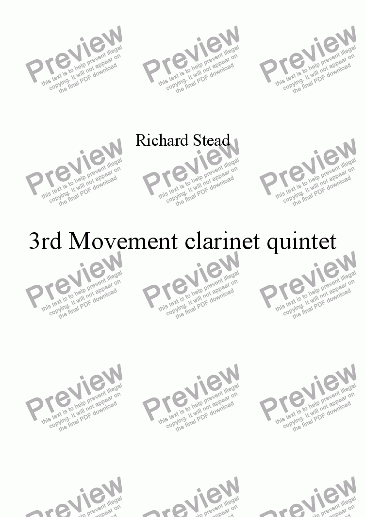 page one of 3rd Movement. Clarinet Quintet