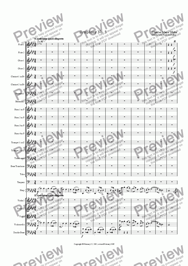 page one of Widor: Symphony No. 5 III Andante quasi Allegretto