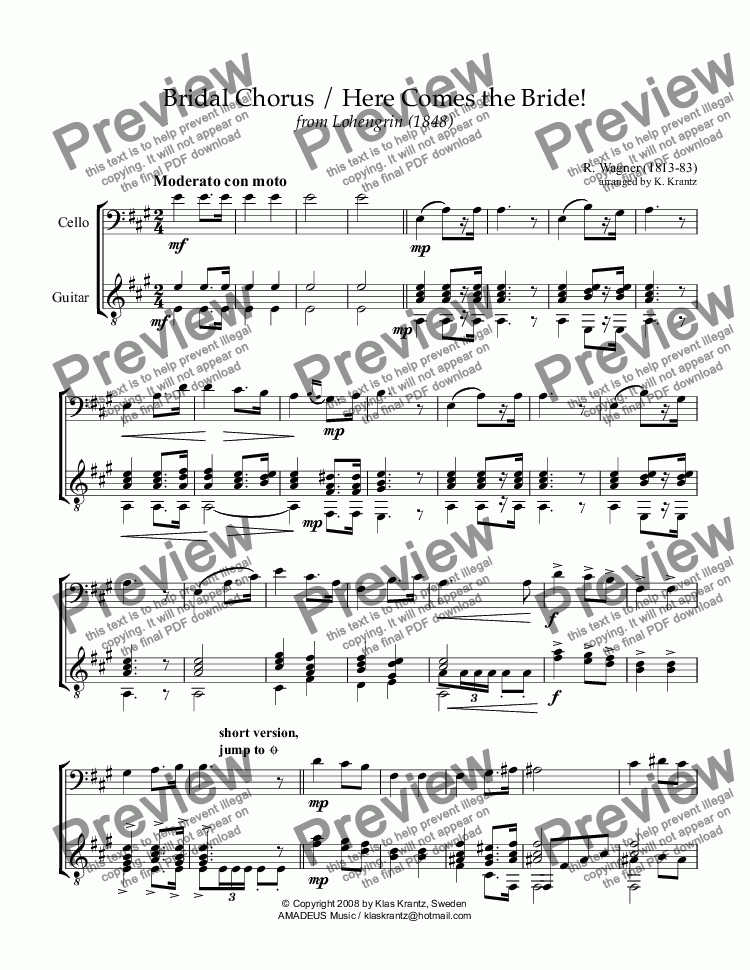 page one of Bridal chorus from Lohengrin - Here comes the bride! for cello and guitar