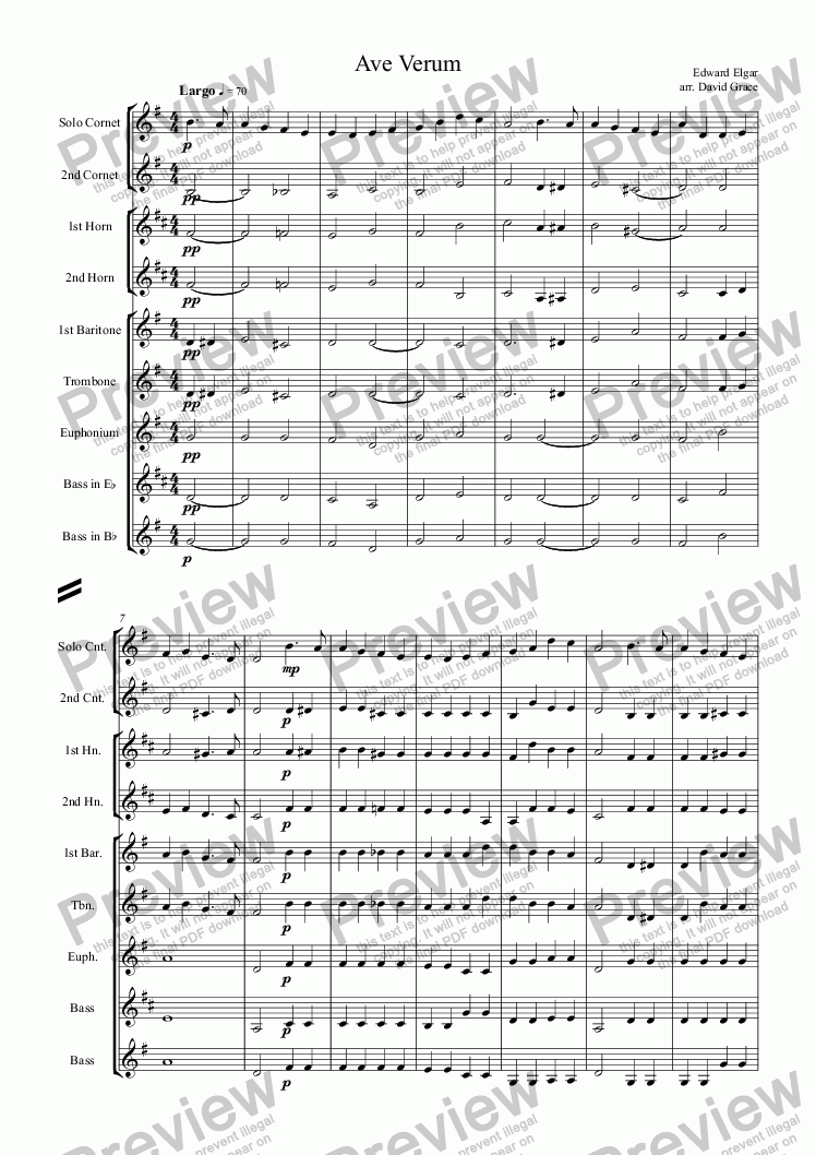 page one of Ave Verum [Elgar]