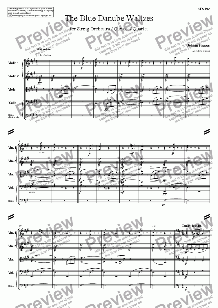 page one of The Blue Danube Waltzes