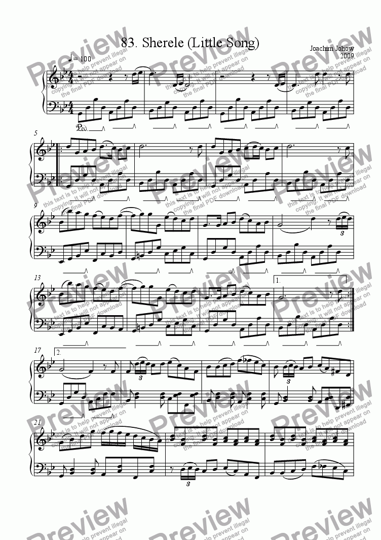 page one of Piano Book 083 (Sherele - little song)