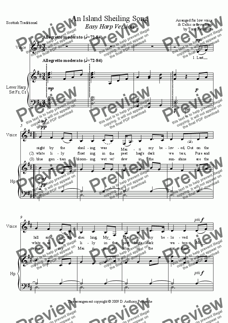 page one of An Island Sheiling Song (Vocal+Easy Harp)