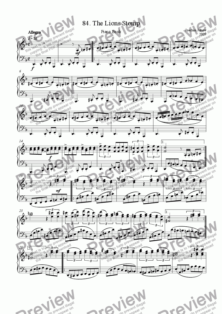 page one of Piano Book 084 (The Lions Stomp)