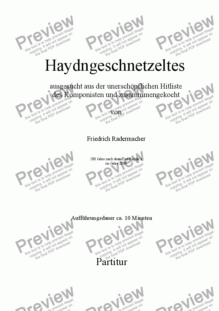 page one of Haydngeschnetzeltes