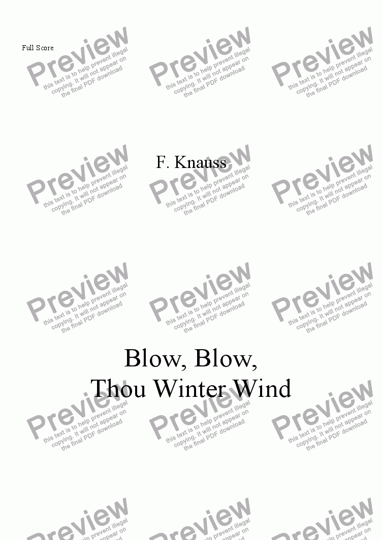page one of Blow, Blow, Thou Winter Wind (SA, piano)