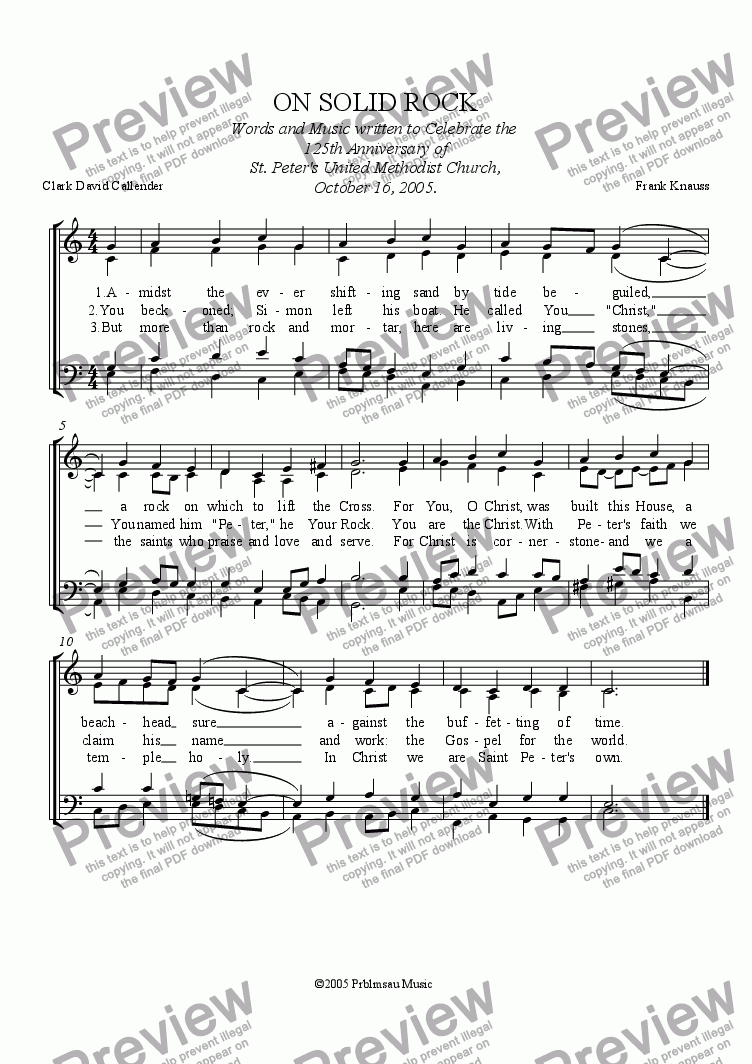 page one of ON SOLID ROCK- hymn