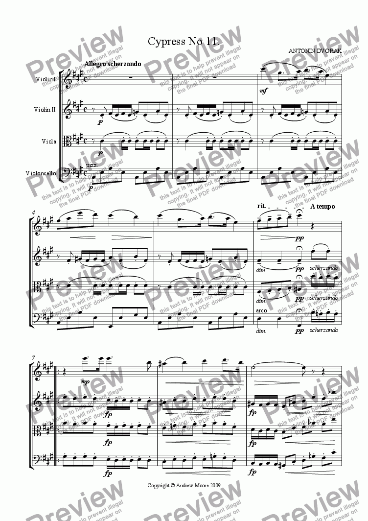 page one of Cypress No 11 for String Quartet
