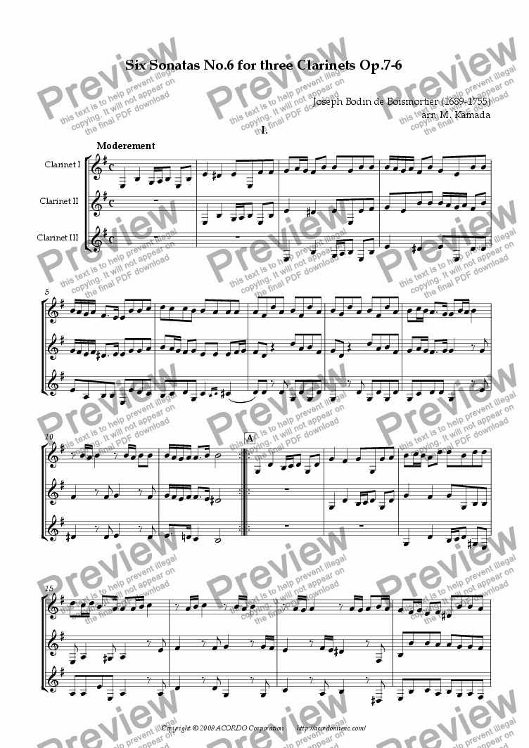 page one of Six Sonatas No.6 for three Clarinets Op.7-6