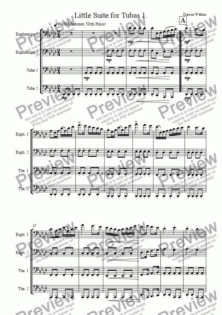 page one of Little Suite for Tubas - Mvmt 1