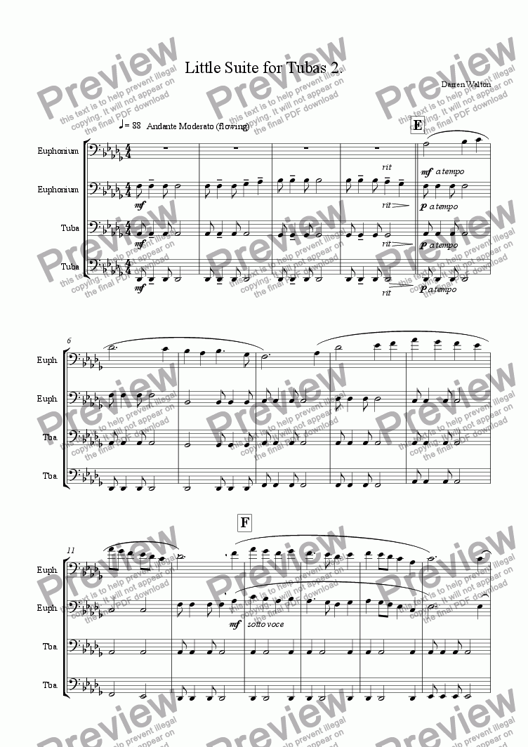 page one of Little Suite for Tubas - Mvmt 2