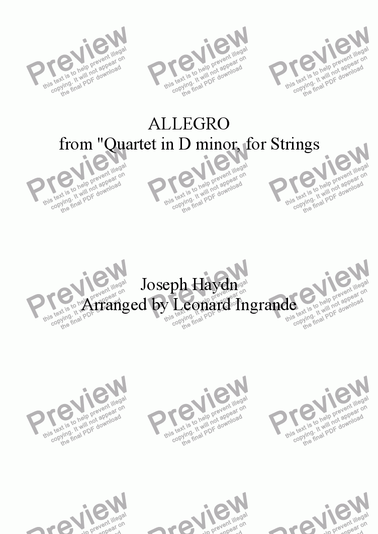 "page one of Allegro ""From Quartet in D Minor"" for Strings"