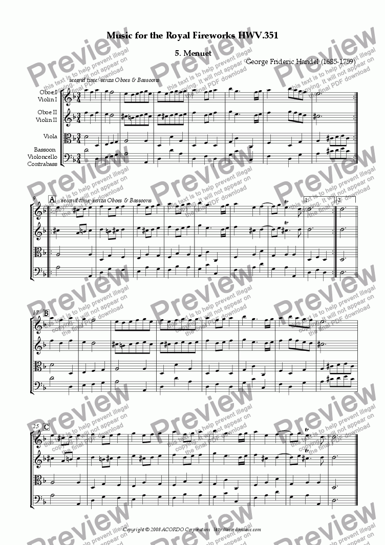 page one of The Music for the Royal Fireworks, HWV 351, V. Menuet I