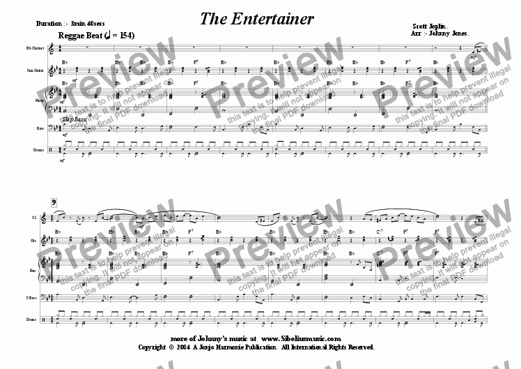 page one of Entertainer The  (a la Reggae Beat; Quintet, Bb Clarinet and 4 Rhythm)