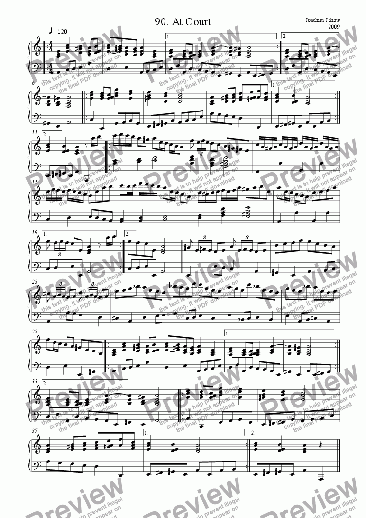 page one of Piano Book 090 (At Court)