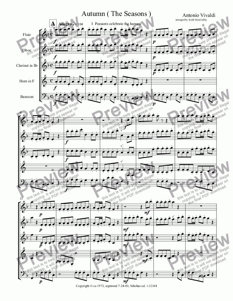 page one of Vivaldi Autumn arr. wind quintet